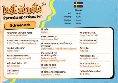Last-Minute Postkarte Schwedisch. Die wichtigsten Sätze für den Urlaub