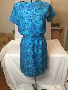 Fun-Turquoise-And-Blue-Paisley-Vintage-Dress-Handmade-50s-60s-Resort-Summer-8