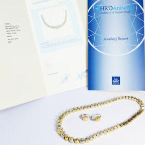 Collier-Set-mit-Ohrringen-Platin-950-Gold-750-HRD-Antwerp-Zertifikat-Neu