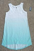 Old Navy Girls White Aqua Green Fading Hi Low Tank Dress Size Xs (5)