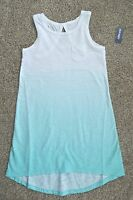Old Navy Girls White Aqua Green Fading Hi Low Tank Dress Size Xs (5)