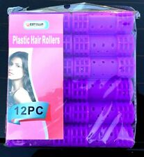 12 Large Curly Wavy Plastic Hair Rollers Curler Clip Cylinder Pink Curls Roller