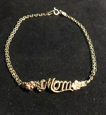 "10 Kt Yellow Gold ""#1 Mom"" Bracelet W/ Rose Gold Flowers 7.5"" VGC"
