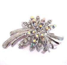 Shiny Vintage Bridal Silver & AB White Rhinestones Corsage Brooch Pin BR188