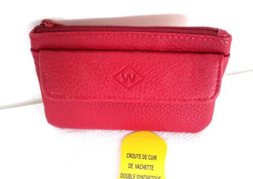 Porte-monnaie zippé /& à rabat CUIR grainéRouge,porte cléf étui cartes cadeau