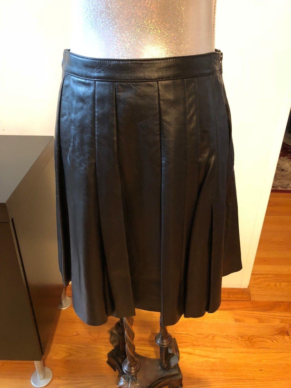 NEW Belstaff Pleaded Leather Skirt Size 42