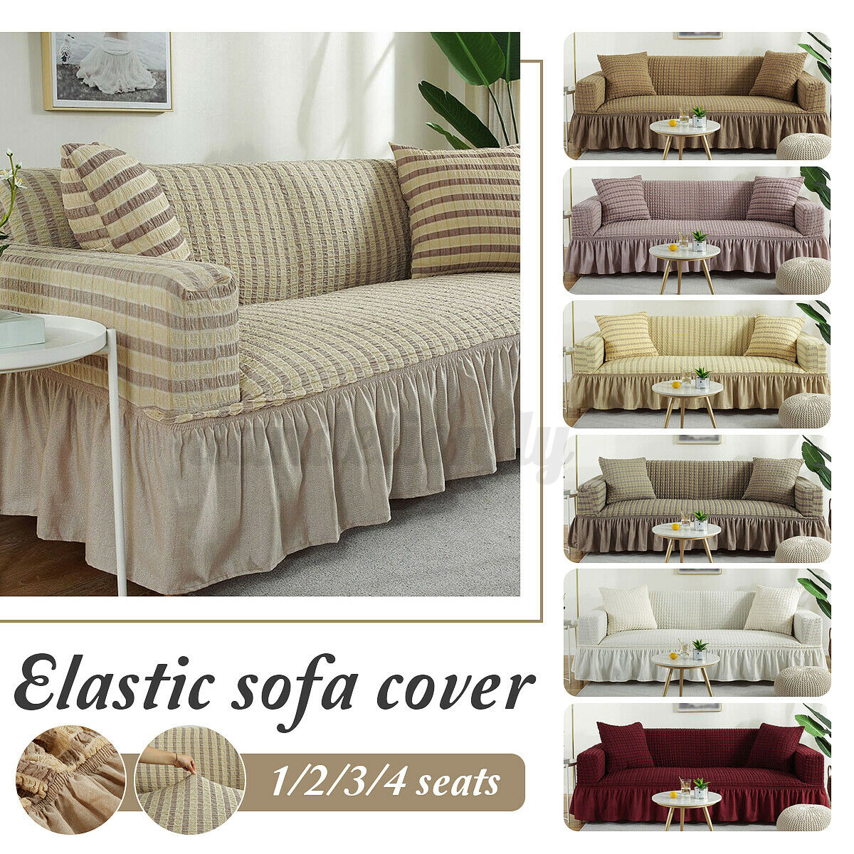 Elastic Slipcover Sofa Chair Covers Couch Cover Protector Skirt 9/9/9/9  Seats US