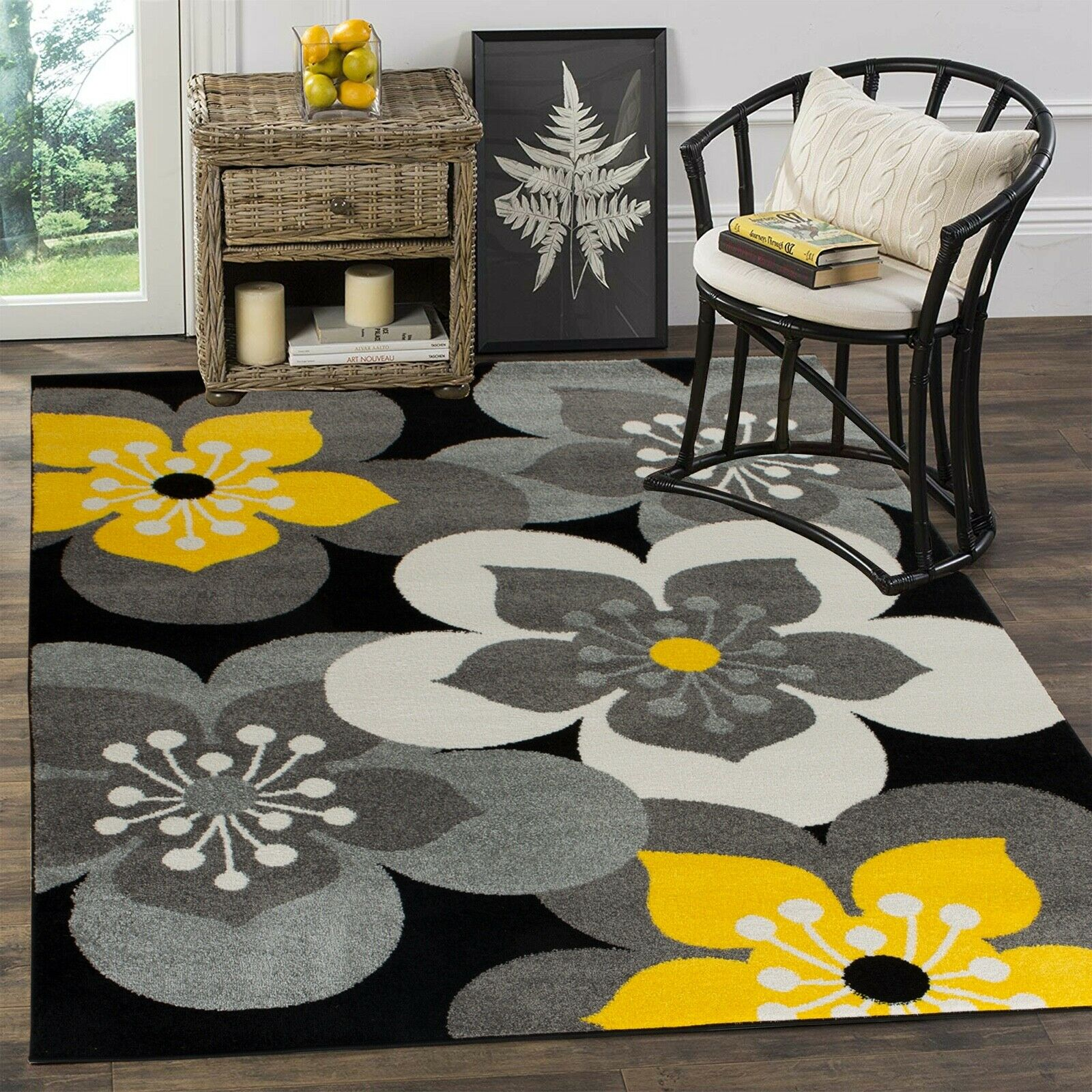 Picture of: Area Rug Oxfrd13 Flowers Gray Yellow Black White Soft Pile Size 2×3 3×5 5×7 8×11 Ebay