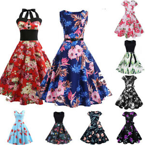 Vintage-Dress-50s-60s-Stylish-Rockabilly-Pinup-Housewife-Party-Swing-Dress
