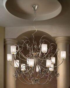 Lampadario moderno di design platino con cristalli coll. BELL ...