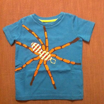 NEW Mini Boden Appliqué T Shirt Tee Age 4 to 5 Blue Spider