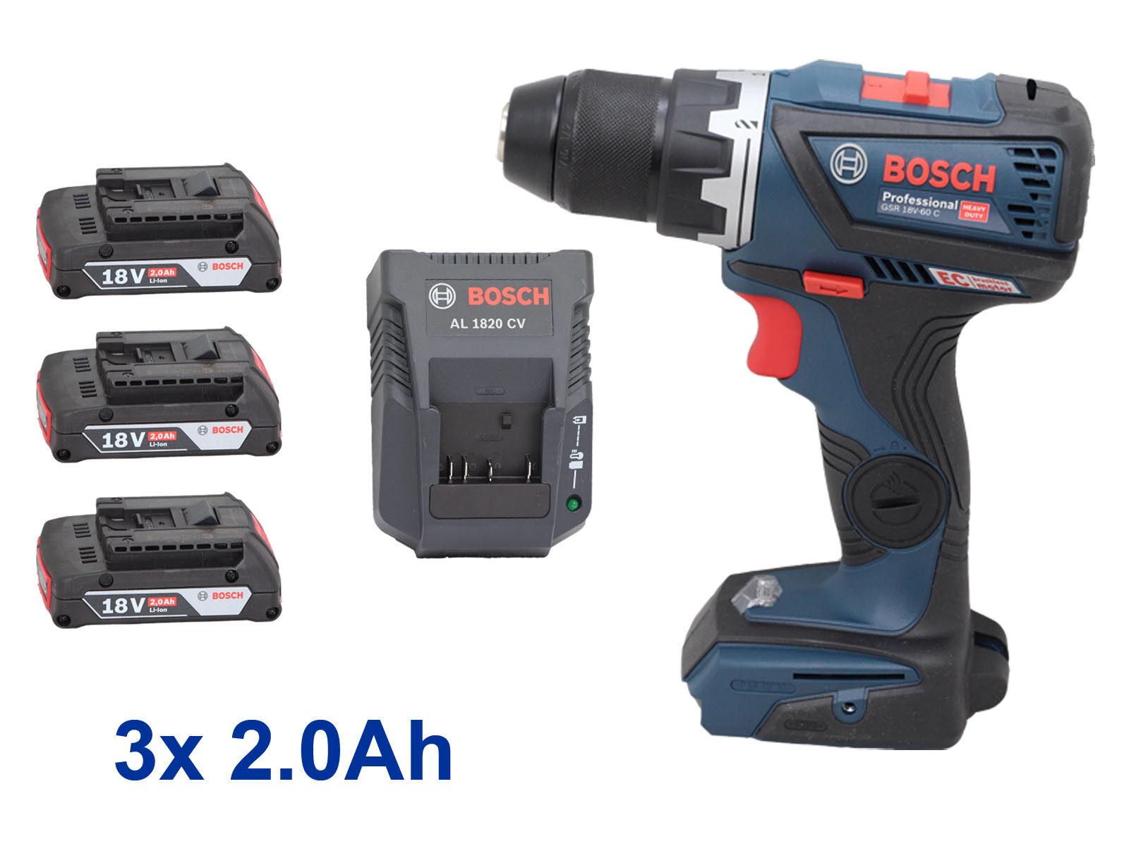 Bosch Akku Bohrschrauber GSR 18V-60 C + 3x 2.0 Ah 18 Volt + AL 1820 CV Ladegerät