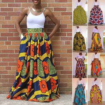 African Women's Print High Waist Party  Long Maxi Skirt Dress + Waist Belt
