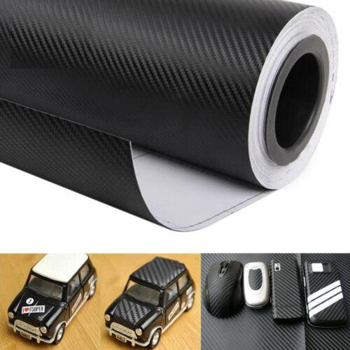"16/""x50/"" Black Carbon Fiber Vinyl Auto Car Wrap Roll Aheet Film Sticker 127*40cm"
