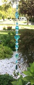 Healing Aqua Blue Crystal Suncatcher/Pri<wbr/>sm W/Swarovski Elements Lead Crystal USA