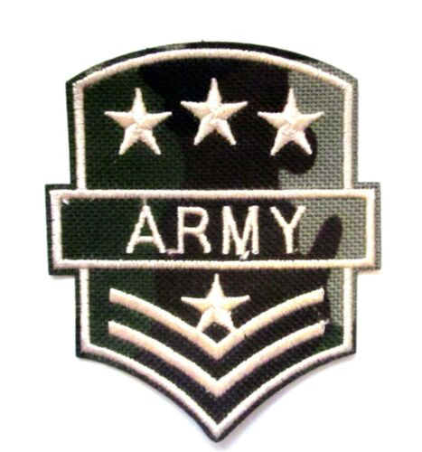 Army Iron On Patch Military Soldier Sergeant Embroidered Applique Badge Sew