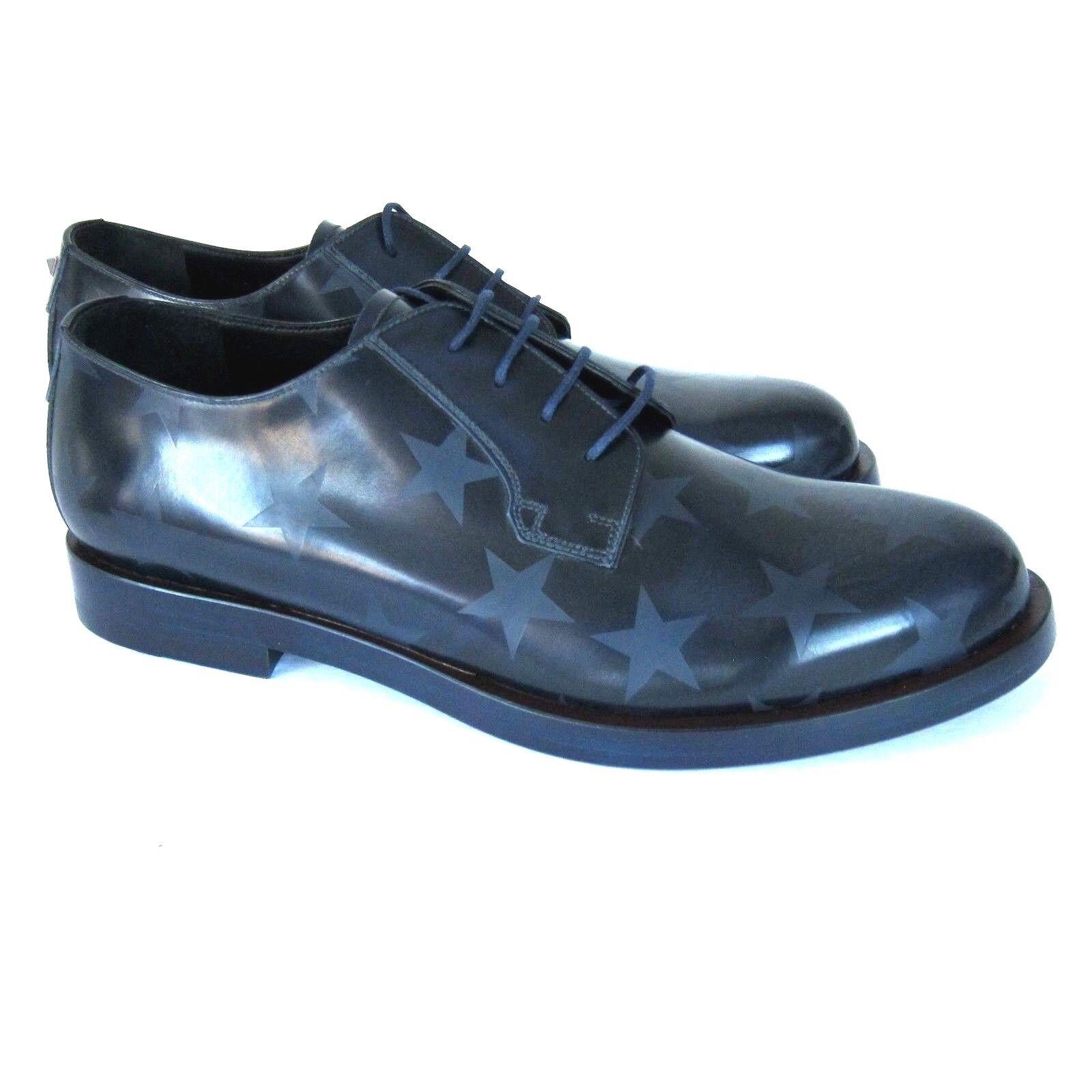 J-2854263 New Valentino Garavani bluee Embossed Star Lace shoes Size 43.5 US 10.5