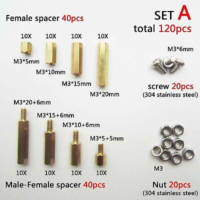 ULTECHNOVO 1 Box 300pcs Male Female Hex M3 Brass Spacer Standoff Hex Screw Nut Assortment Kit