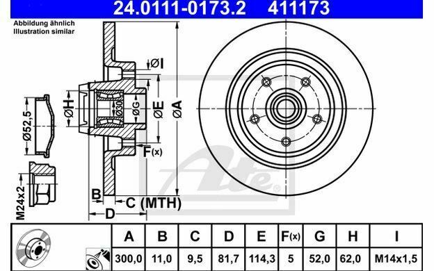 1x ATE Disque de Frein Arrière Plein 300mm pour RENAULT LATITUDE 24.0111-0173.2