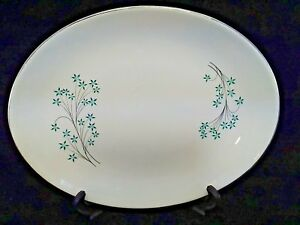 Vintage-China-turquoise-flowers-serving-platter-with-gold-rim-13-1-4-x-10-034