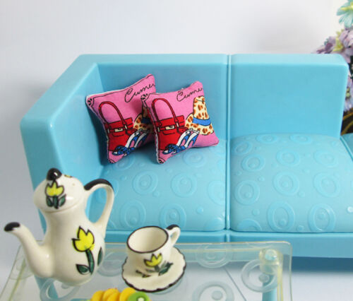 2PCS Handbag Shoes Hat Pillow For Sofa Couch Bed 1//12 Dollhouse Miniature Doll