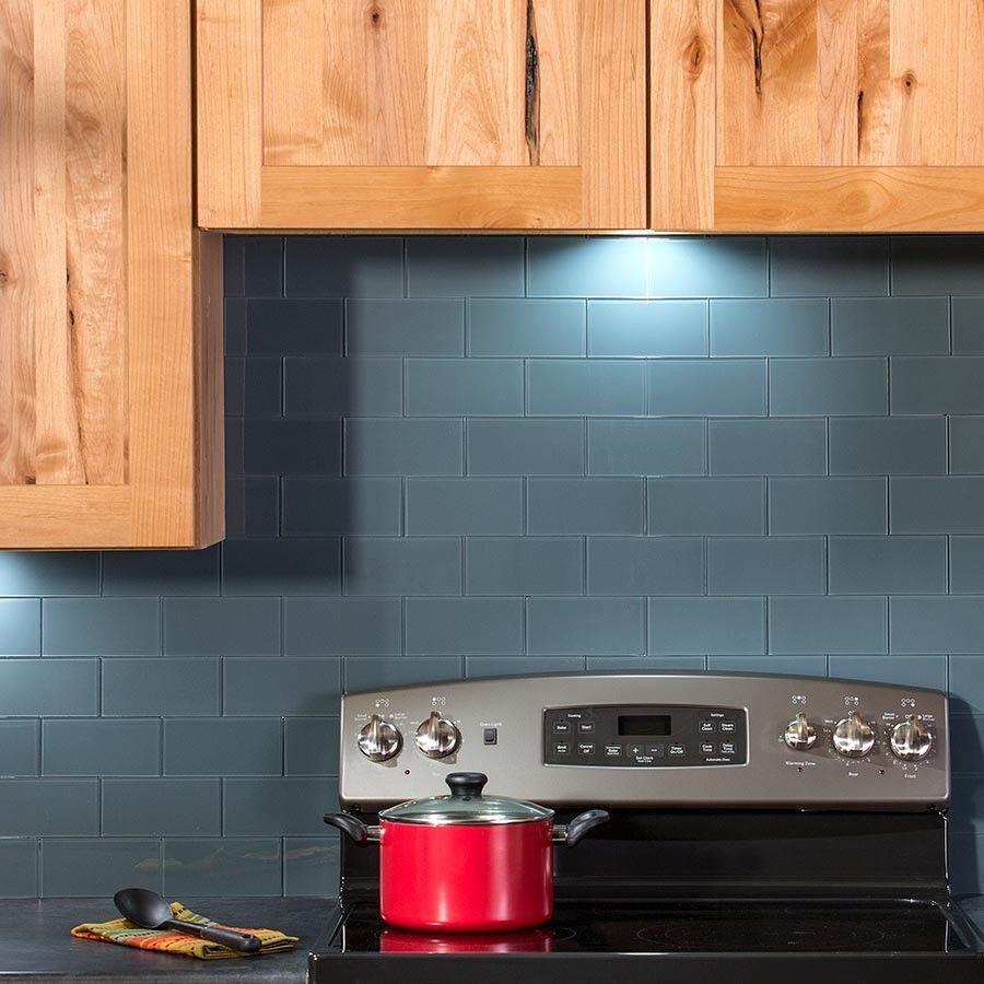 Peel And Stick Tile Self Adhesive Glass Wall Bath Kitchen Backsplash Blue Grey For Sale Online Ebay