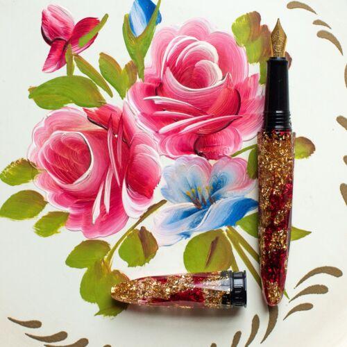 BENU Briolette Collection Splendor Red /& Gold Fountain Pen