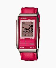 Casio LA201WBL-4A Women's Futurist Pink Leather Band Alarm Chronograph Watch