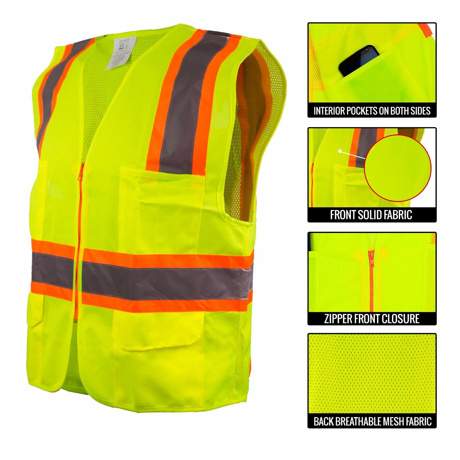 New High Vis Class 2 Safety Vest SRUS 9811 Breathable Reflective Stripes 4XL