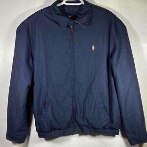 POLO-Ralph-Lauren-Navy-Blue-HARRINGTON-PLAID-LINED-Golf-Jacket-Mens-Size-LARGE