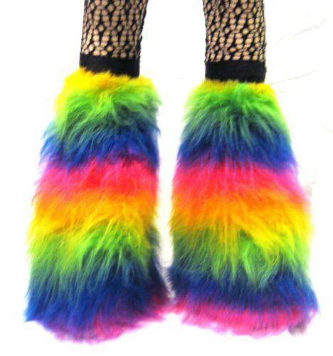 UV Fluo Multi Rainbow Moelleux Fourrure Jambières couvre-bottes Rave Cyber Fluffies