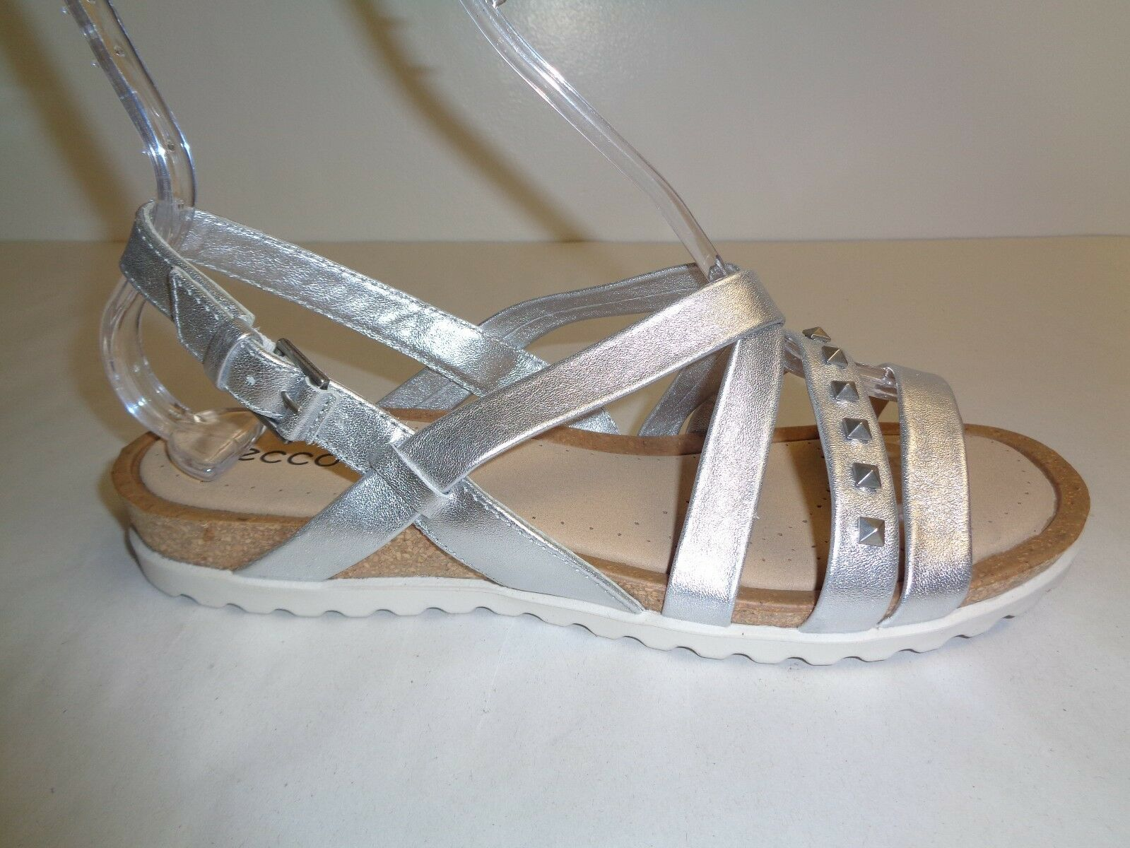 Ecco Taille 7 to 7.5 DAGMAR argent Leather Cross Dress Sandals New femmes chaussures