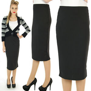 SCUBA-WIGGLE-PENCIL-SKIRT-50-039-S-VINTAGE-BLACK-ROCKABILLY-RETRO-ALTERNATIVE