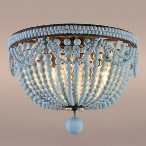 Details About Farmhouse Distressed Blue Round Wood Bead 3 Light Flush Mount Ceiling Light