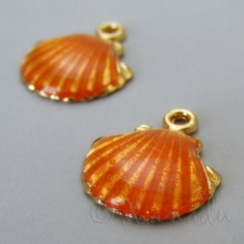 Scallop Shell 18mm Gold Plated Orange Enamel Beach Charms C1792-2 5 Or 10PCs