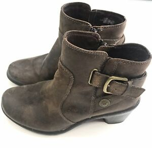 ec7a92c631e Details about MONTANA Artisan Craft Brown Leather Side Zip Ankle Boots  Women's Size 5.5 M