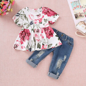 2PCS Kids Baby Girls Clothes Floral Short Sleeve Tops Denim Jeans Pants Outfits