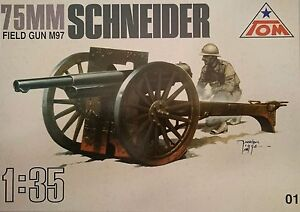 2 15/16in Field Gun 'Schneider M97, 1:3 5, TOM, Plastic Kit, New