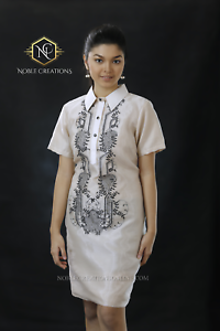 Filipiniana Brodé Barong Robe Soie Philippines Terno Maria Clara-beige-afficher Le Titre D'origine