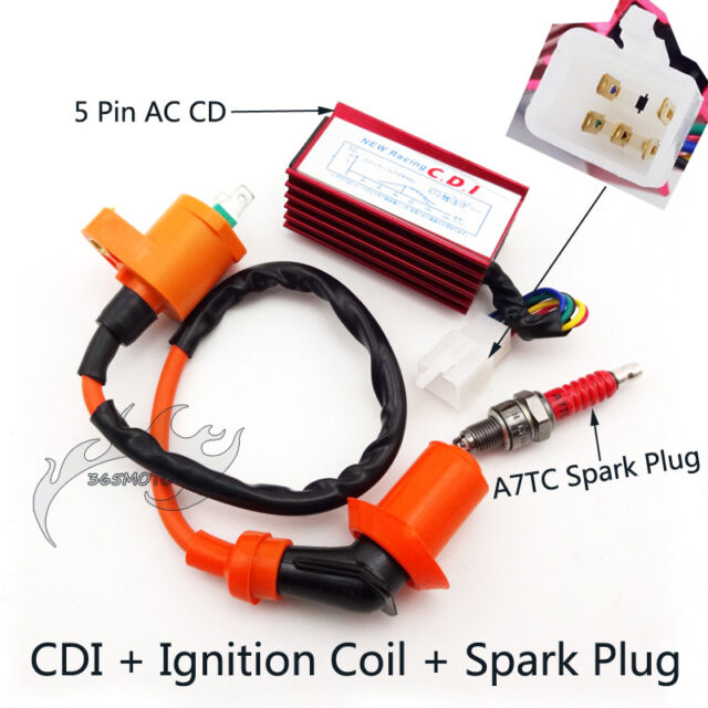 Ignition Coil 5 Pin CDI Spark Plug For Spree SYM DD50 Honda Dio Elite SB SA 50