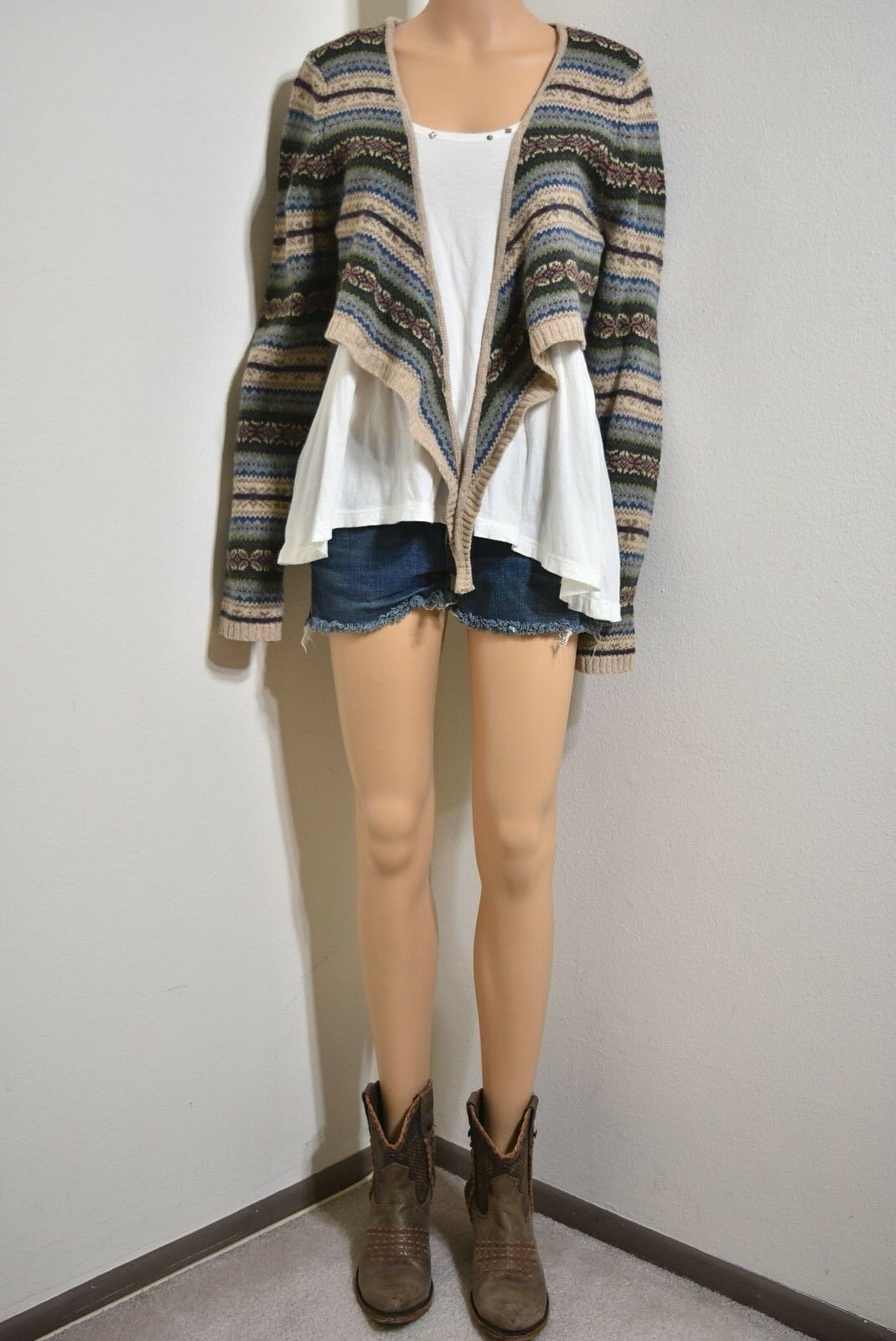 Ralph Lauren Lambswool Sweater womens multi color crop top Southwestern Size XL