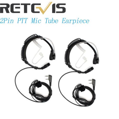 2xMic 2Pin Throat Tube Earpiece Headset for Kenwood Baofeng Retevis H777 Radio