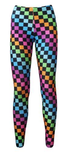 Girls Multi Check Squares Checkerboard Checker Print Leggings Size 5-10 Years