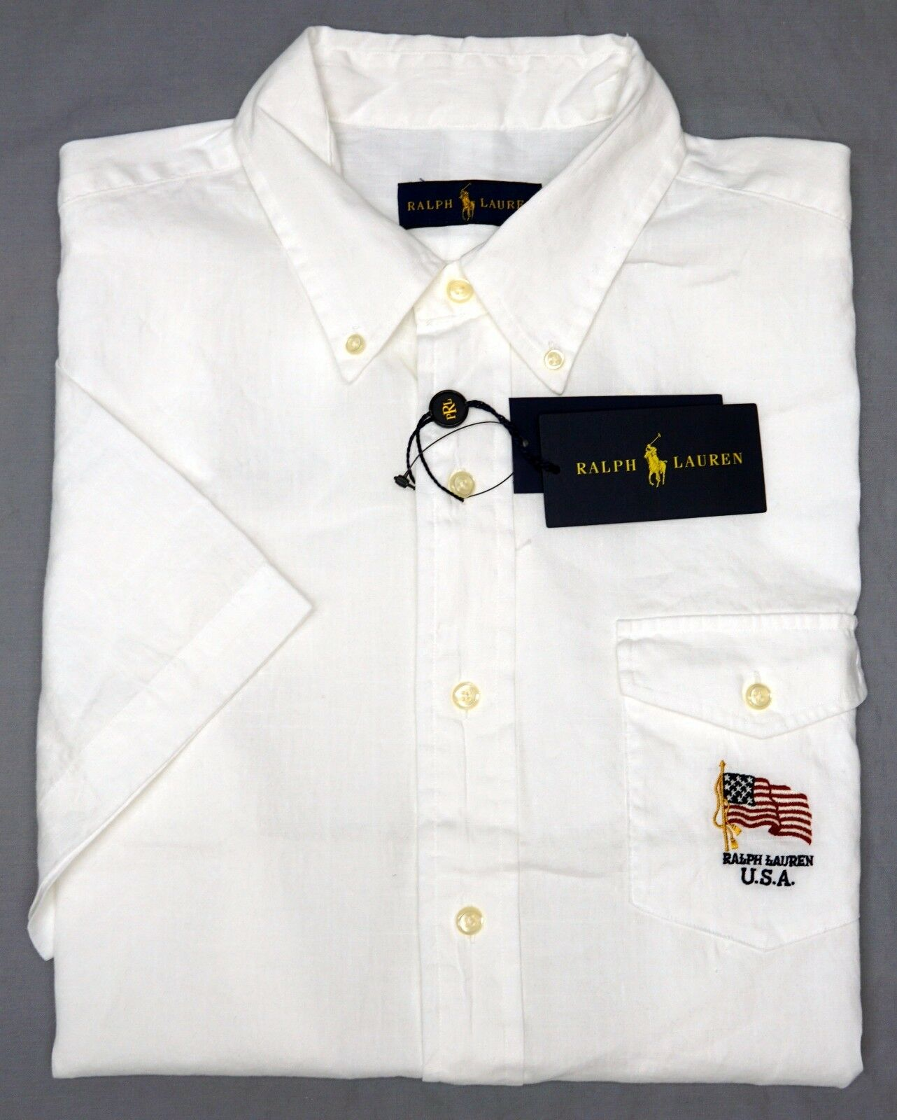 5821412e4f NWT Polo Ralph Lauren White Shirt Mens Linen Cotton Flag Short Sleeve NEW