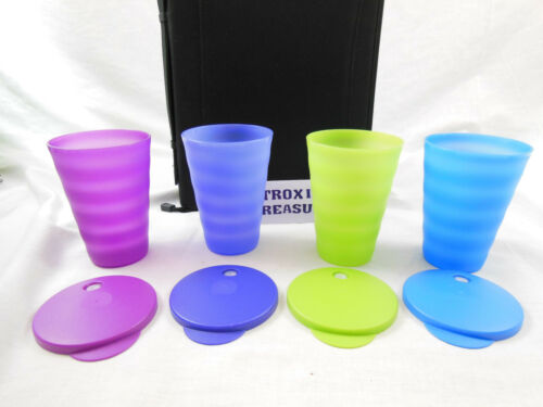 Tupperware impressions tumblers w/dripless straw seal lot of 4 16oz multi color