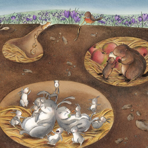 Underground ANIMAL landscape art fox bunny mice 8x10 archival Unframed PRINT