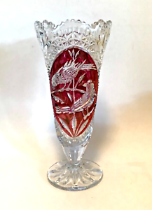 Hofbauer-Bleikristall-Trumpet-Vase-Ruby-Red-Byrdes-Lead-Crystal-10-25-inches