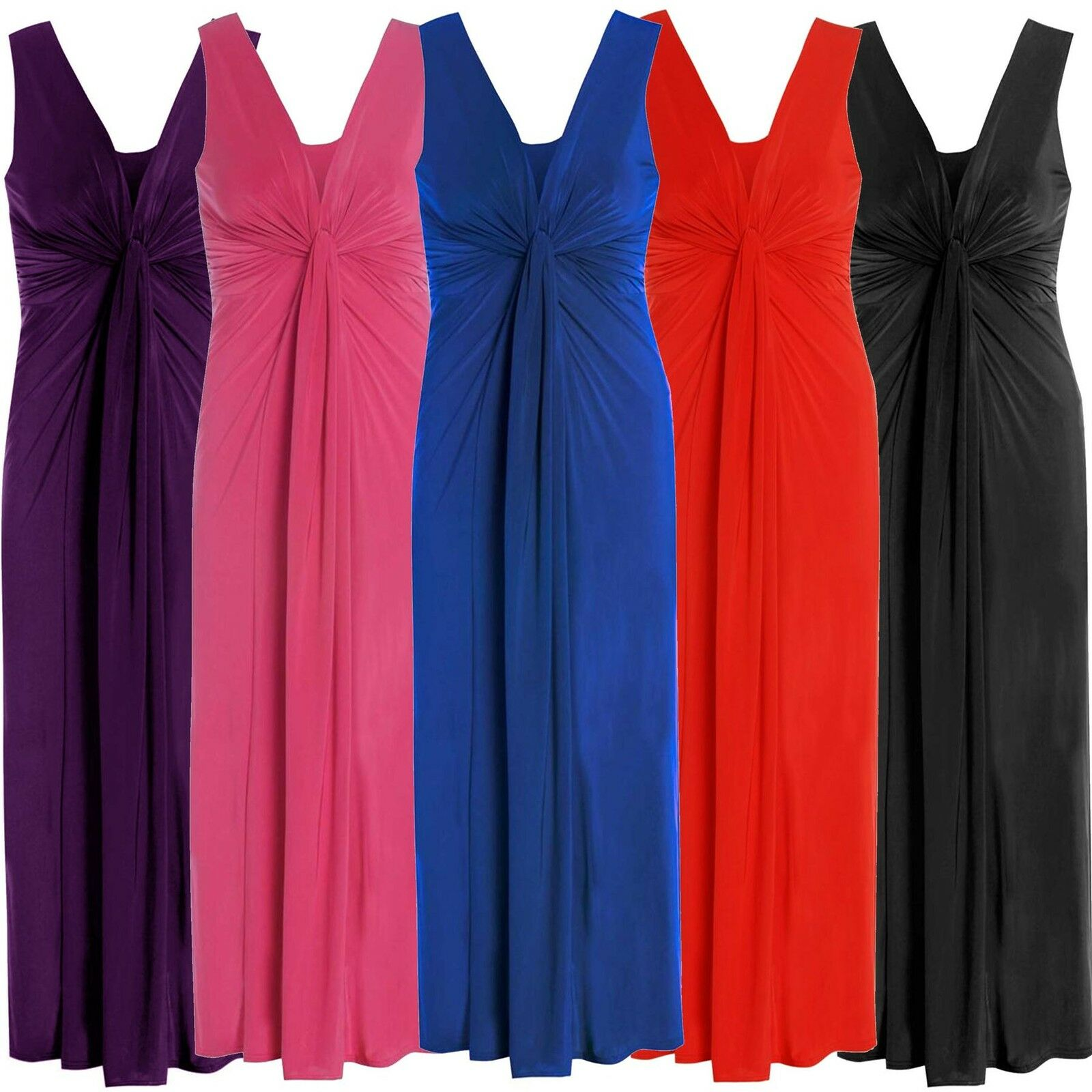 New Womens Plus Size Twist Knot Panel Celebrity Evening Maxi Dress 16-26