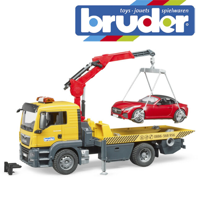 Bruder MAN TGS Tow Truck With Bruder Roadster L&S Module Toy Model Scale 1:16