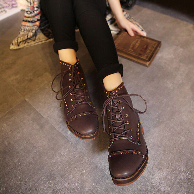 Stivali marrone stivaletti bassi scarpe anfibi 4 cm marrone Stivali eleganti simil pelle 9434 a8e9cf